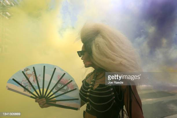 Siberia participates in the Miami Beach Pride Parade along Ocean Drive on September 19, 2021 in Miami Beach, Florida. The annual event was canceled...