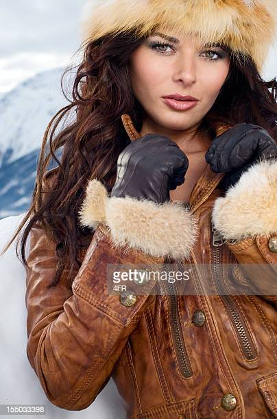 siberian beauty - intense winter portrait - inuit stock pictures, royalty-free photos & images