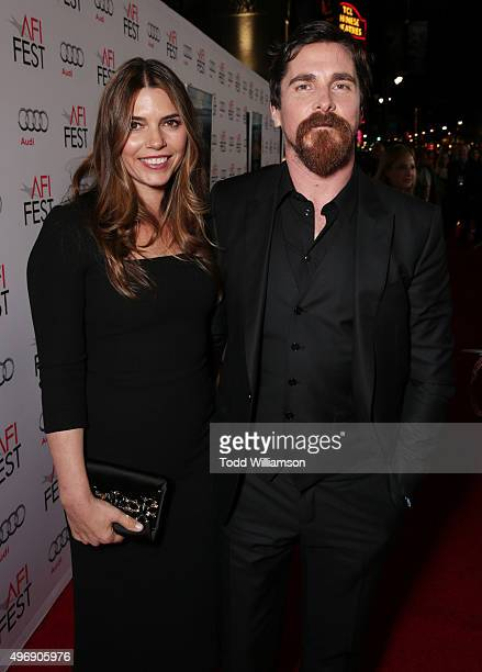 """Sibi Blazic and Christian Bale attend the closing night gala premiere of Paramount Pictures' """"The Big Short"""" during AFI FEST 2015 at TCL Chinese..."""