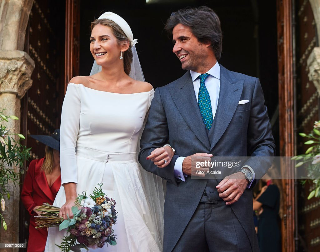 Sibi Montes (L) and Alvaro Sanchis (R) during their wedding at Parroquia Santa Ana on October 7, 2017 in Seville, Spain.