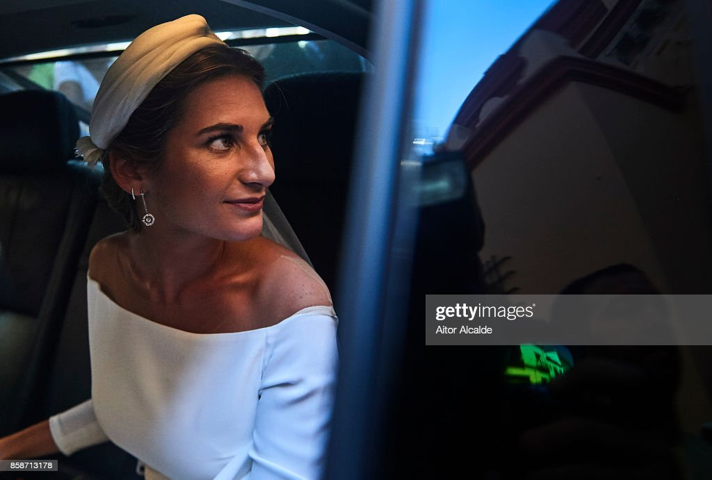 Sibi Montes during her wedding with Alvaro Sanchis at Parroquia Santa Ana on October 7, 2017 in Seville, Spain.