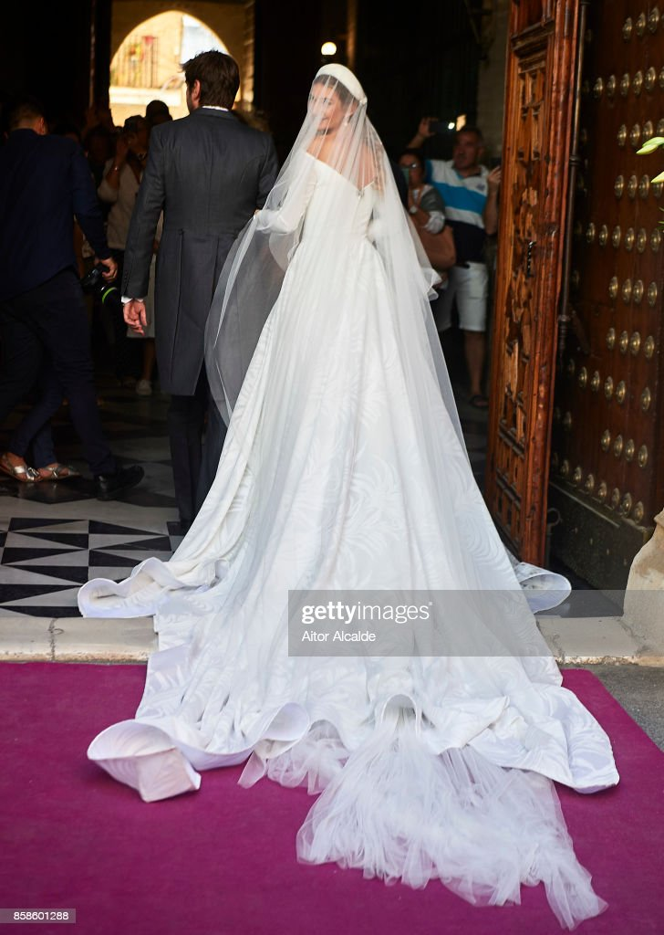 Sibi Montes looks on during her wedding with Alvaro Sanchis at Parroquia Santa Ana on October 7, 2017 in Seville, Spain.