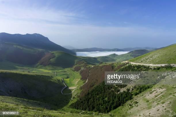 Sibillini Mountains National Park View of Castelluccio di Norcia from Monte Prata Castelsantangelo sul Nera Marche Italy Europe