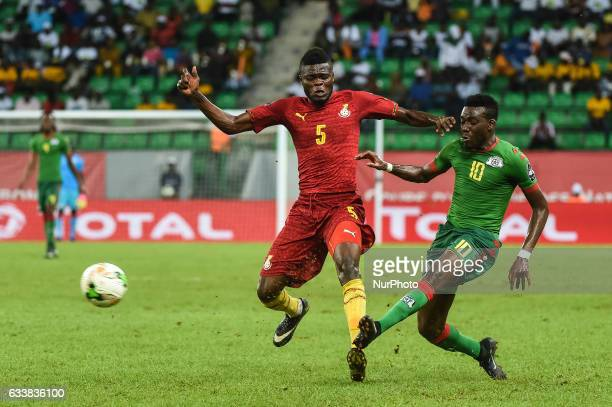 Sibiri Alain Traore and Thomas Teye Partey during the 2017 Africa Cup of Nations 3rd place match in Port Gentile Gabon on 4/2/2017