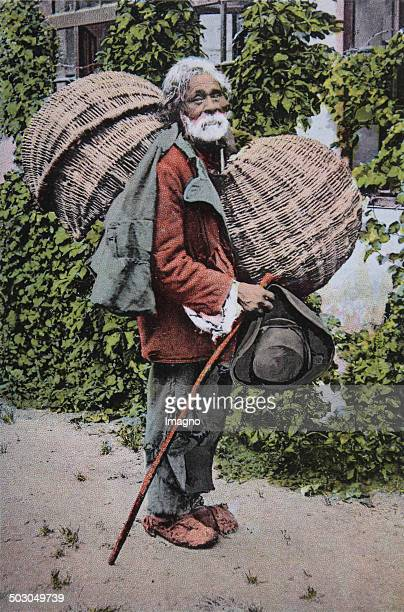 Sibiu / Romania Basket Gypsy Coloured picture postcard About 1910 Photograph
