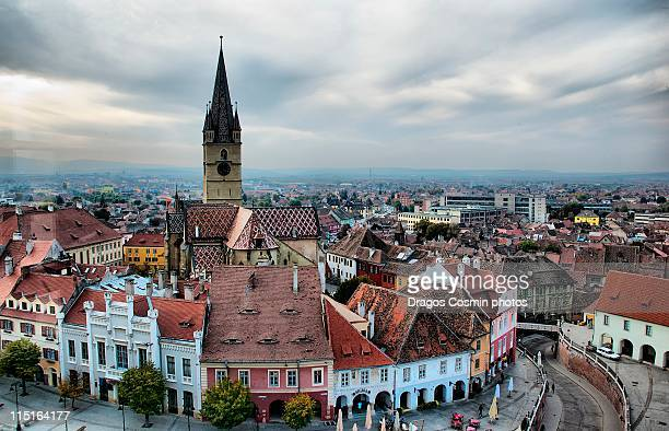 sibiu - the other perspective - sibiu stock photos and pictures