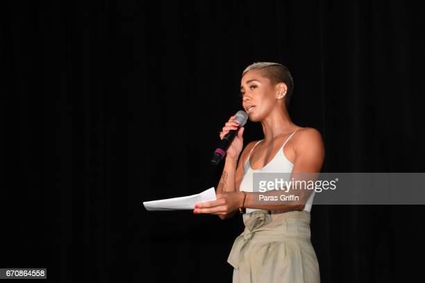 Sibley onstage at AHF Presents The Know Your Status Tour Atlanta at Clark Atlanta Univeristy on April 20 2017 in Atlanta Georgia