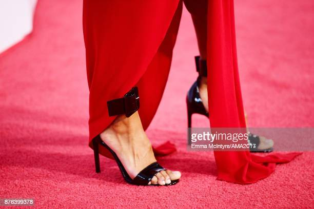 Sibley Scoles fashion pedicure and shoe details attends the 2017 American Music Awards at Microsoft Theater on November 19 2017 in Los Angeles...