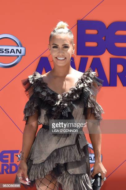 Sibley Scoles poses upon arrival for the BET Awards at Microsoft Theatre in Los Angeles California on June 24 2018