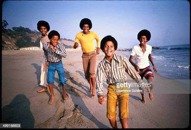Sibling American pop music group the Jackson 5 dance on a beach around the time of 'Diana Ross Presents the Jackson 5' their debut album Los Angeles...