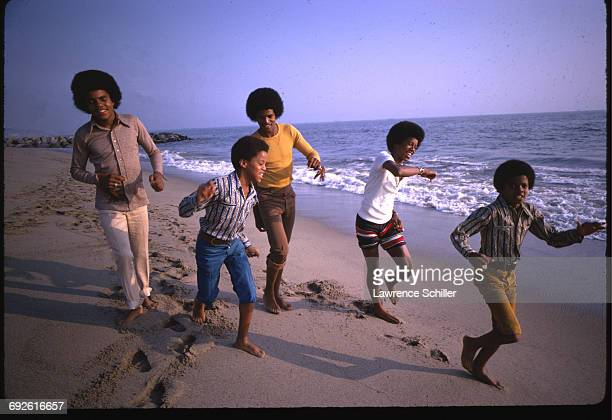 Sibling American pop music group the Jackson 5 dance on a beach around the time of 'Diana Ross Presents the Jackson 5' their debut album Santa Monica...