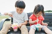 asian brother sister enjoy picnic