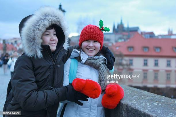 Sibling enjoyed winter holiday in the city.