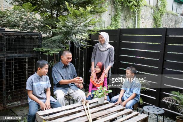 sibling help father in backyard - eid al adha stock pictures, royalty-free photos & images