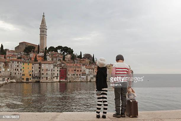 Siblings admiring Rovinj from the northern harbour
