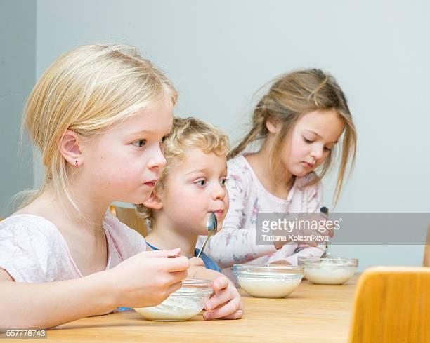 Siblings at breakfast