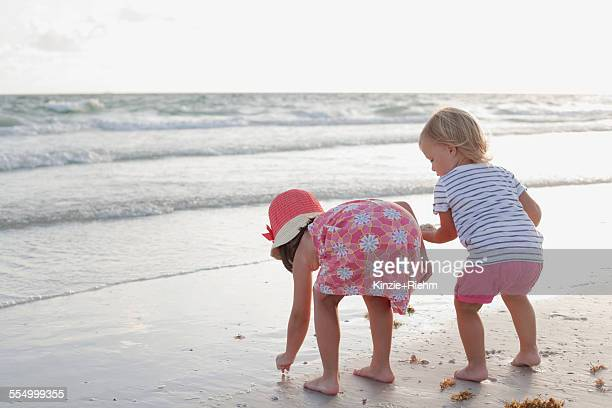 siblings exploring on the beach at sunset - anna maria island stock pictures, royalty-free photos & images