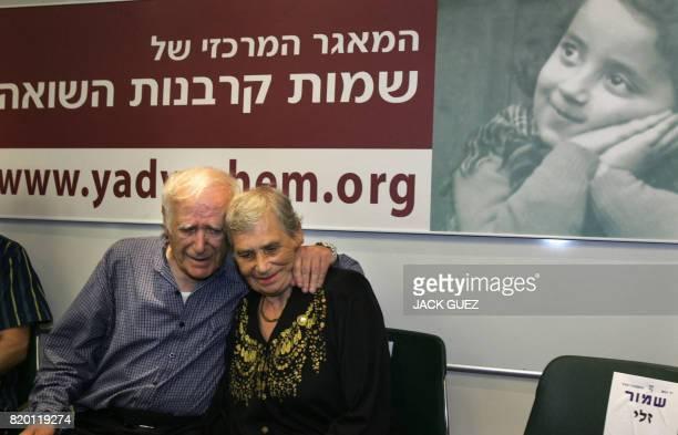 Siblings Hilda Shlick of Ashdod in Israel and Simon Glasberg of Ottawa Canada hug each other at Yad Vashem Holocaust Museum in Jerusalem 18 September...