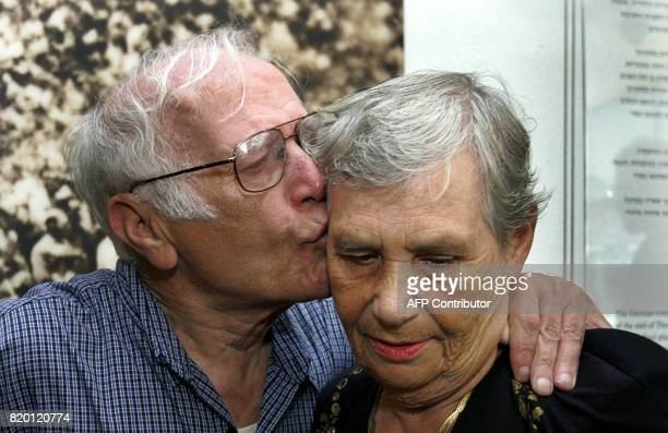 Siblings Hilda Shlick of Ashdod in southern Israel is kisses by Simon Glasberg of Ottawa Canada at Yad Vashem Holocaust Museum in Jerusalem 18...