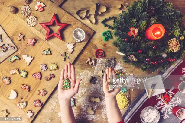 siblings holding christmas cookies in the palm of their hands - fotosession stock photos and pictures