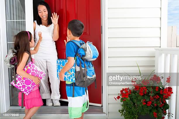 Siblings leaving for school