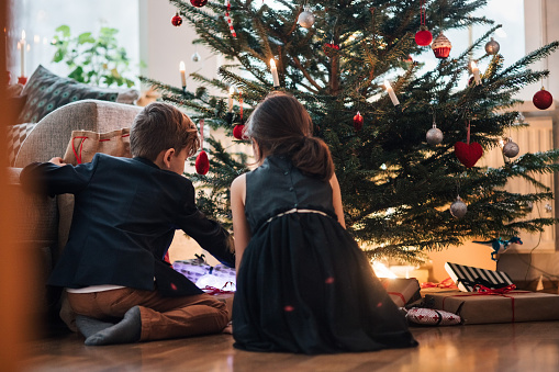 Siblings looking at Christmas tree and presents while sitting on floor at home - gettyimageskorea