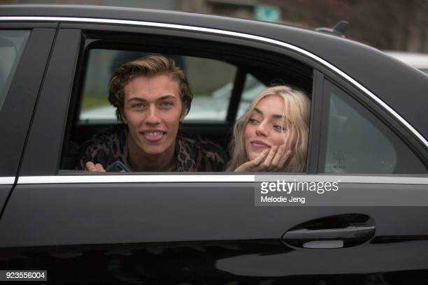 Siblings Lucky Blue Smith and Pyper America in their car after the Roberto Cavalli show during Milan Fashion Week Fall/Winter 2018/19 on February 23...