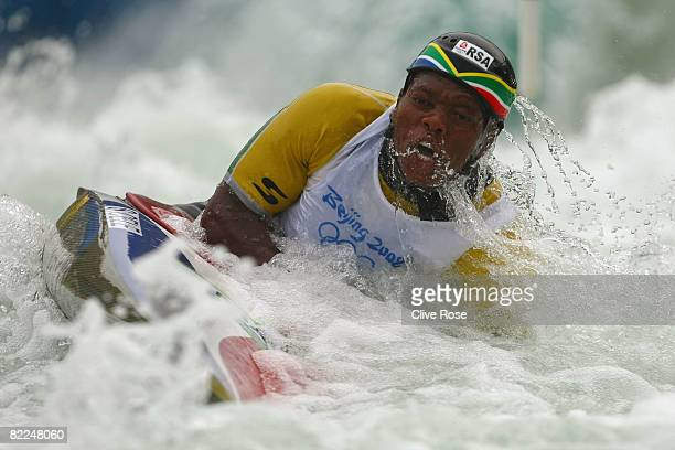 Siboniso Cele of South Africa competes in the Men's Canoe Single heats 1st run at the Shunyi Olympic RowingCanoeing Park on Day 3 of the Beijing 2008...