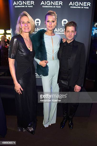Sibylle Schoen, CEO AIGNER, Toni Garrn and chief designer Christian Beck attend the Bambi Awards 2015 party at Atrium Tower on November 12, 2015 in...