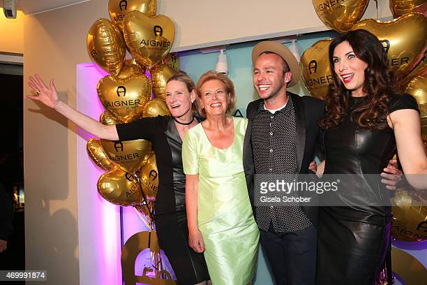 Sibylle Schoen Evi Brandl Marlon Roudette and Alexandra Polzin during the 50th Anniversary of AIGNER on April 16 2015 in Munich Germany