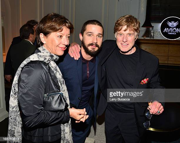 Sibylle Szaggars actor Shia LaBeouf and director Robert Redford attend The Company You Keep New York Premiere After Party at Harlow on April 1 2013...