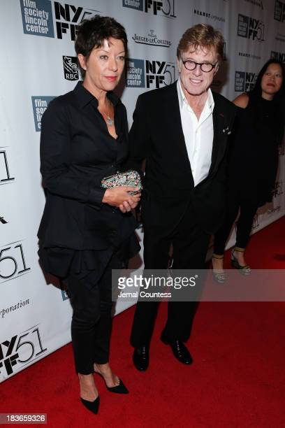 Sibylle Szaggars and Robert Redford attend the All Is Lost premiere during the 51st New York Film Festival at Alice Tully Hall at Lincoln Center on...