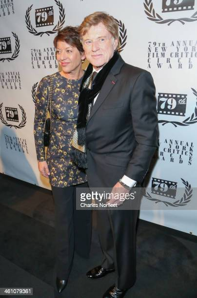 Sibylle Szaggars and Robert Redford attend the New York Film Critics Circle 2013 Awards Ceremony at The Edison Ballroom on January 6 2014 in New York...