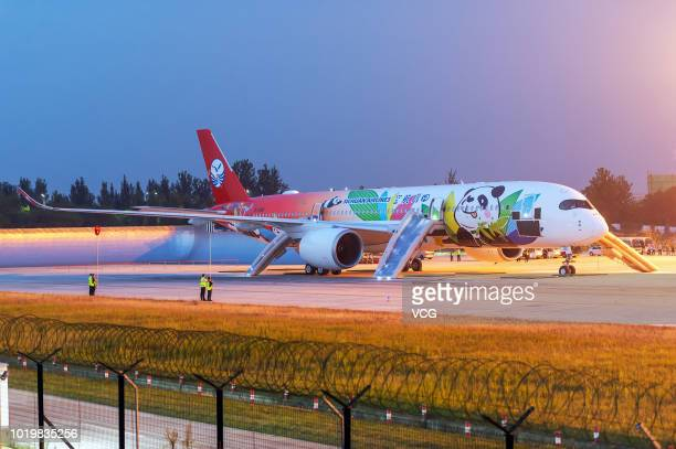 Sichuan Airlines' Airbus A350 is seen at Chengdu Shuangliu International Airport on August 15 2018 in Chengdu Sichuan Province of China Sichuan...