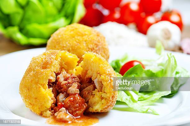 arancini siciliani - sicily stock pictures, royalty-free photos & images