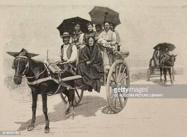 Sicilian cart in Monreale Italy engraving after a photo by Eugenio Interguglielmi from L'Illustrazione Italiana Year XX No 52 December 24 1893