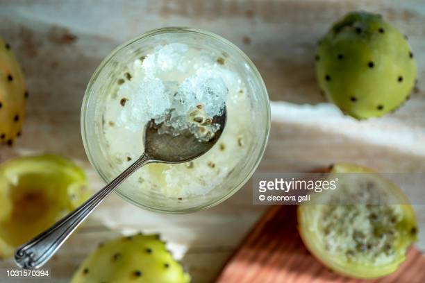 sicilian granita with prickly pears - sorbet stock pictures, royalty-free photos & images