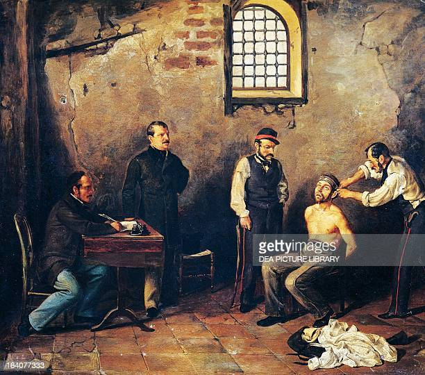 Sicilian revolutionary from the independence movements in 1820 being subjected to torture by Civic Guards painting Italy 19th century Palermo Museo...