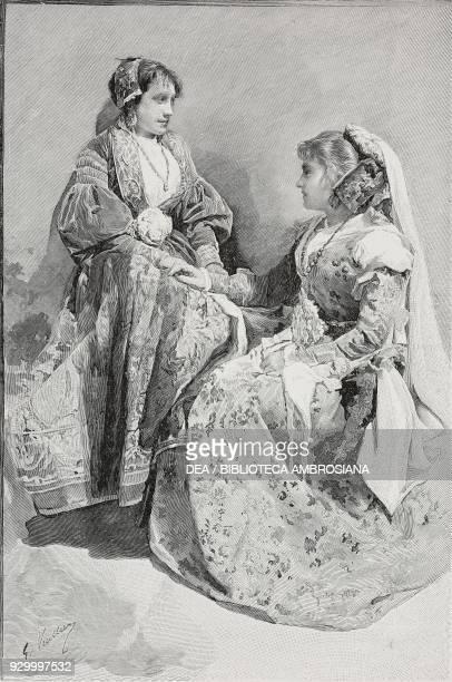 SicilianAlbanian women in feast costume engraving from L'illustrazione Italiana Year XXIX No 15 April 13 1902