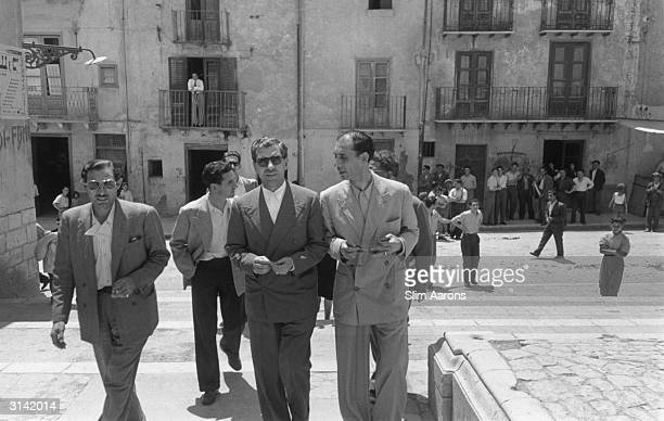 Sicilianborn American gangster Charles 'Lucky' Luciano with friends at Lercara Friddi in the Palermo Province during his exile in Sicily His criminal...