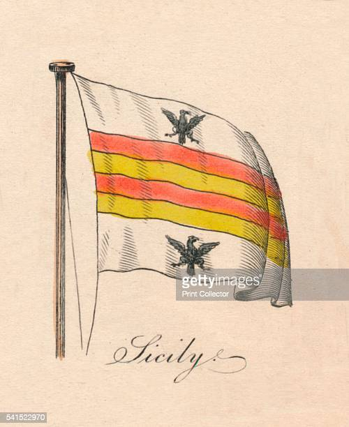 Sicily' 1838 From A Display of the Naval Flags of All Nations Collected from the Best Authorities [Fisher Son Co London 1838] Artist Unknown