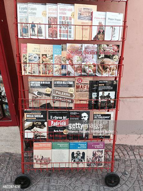 Sicily and the mafia in this bookseller's display