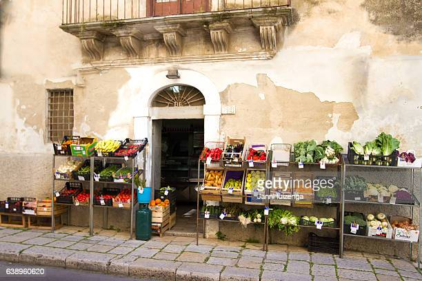Sicily: Fruit and Veggies Lined Up Outside Colorful Mini-Market