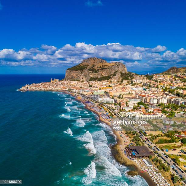 sicily island and the view of cefalu old town, italy, europe - sicily stock pictures, royalty-free photos & images
