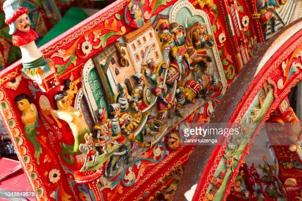 sicily, italy: antique sicilian painted cart close-up - catania stock pictures, royalty-free photos & images