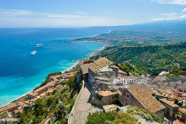 sicily, taormina, santuario madonna della rocca - taormina stock pictures, royalty-free photos & images