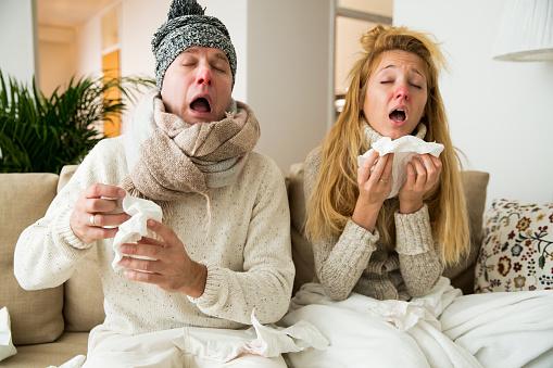 Sick couple catch cold 621146764