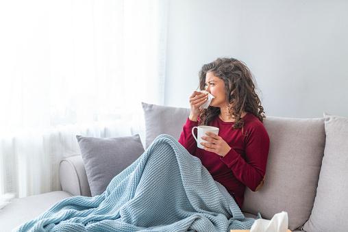 Sick desperate woman has flu. 1133360227