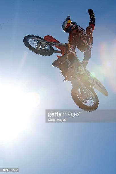 Sick Nick de Wit pulls some big air completing a switchblade indie on the FMX kicker during the Ultimate X 2011 presented by Absa Life XtremeSA's...