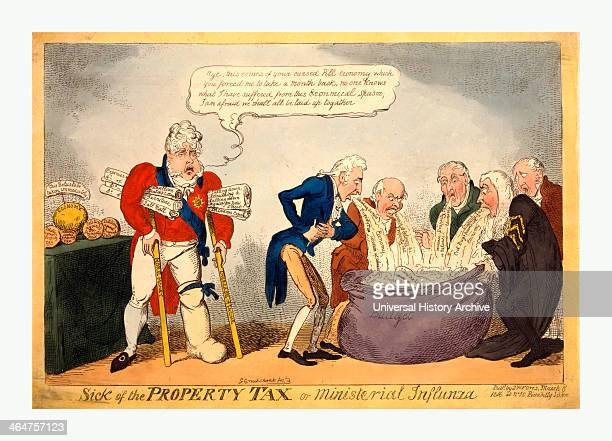 Sick Of The Property Tax Or Ministerial Influnza Cruikshank George 17921878 Artist Engraving 1816 Ministers Among Them Vansittart And Castlereagh...